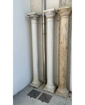 Coppia colonne in marmo bianco di Carrara