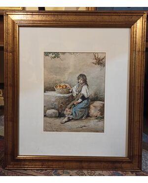 Dipinto tecnica ad acquarello raffigurante Giovane Fanciulla - epoca metà '800