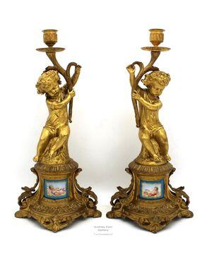 Antica Coppia di Candelieri Candelabri Napoleone III in bronzo dorato e porcellane dipinte - epoca 800