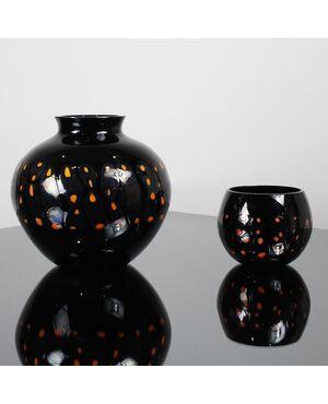 Coppia vasi vetro Murano murrine Alfredo Barbini vintage anni'60