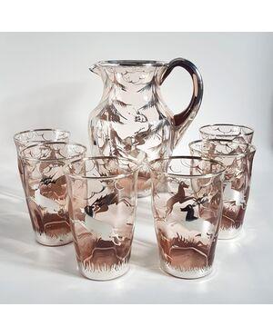 Servizio da 6 in vetro di Murano decoro in argento