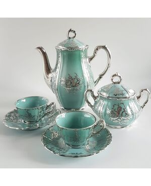 Arrigo Finzi, servizio da caffè in porcellana e argento decoro Pompadour