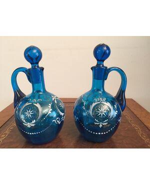 Coppia di antiche bottiglie di Murano