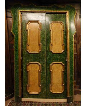 ptl149 coppia di porte laccate, finto marmo, ep. '700