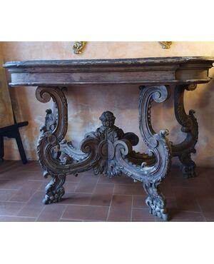 Consolle in legno intagliato e laccato Luigi XIV