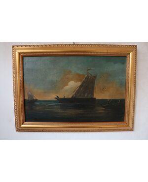 """Dipinto, """"Barche in mare"""""""