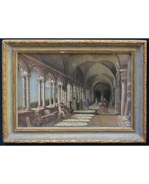 XIX secolo, Veduta prospettica di chiostro