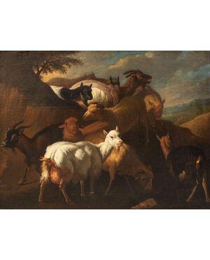 Dipinto raffigurante delle capre, cerchia di Francesco Londonio (1723 - 1783)