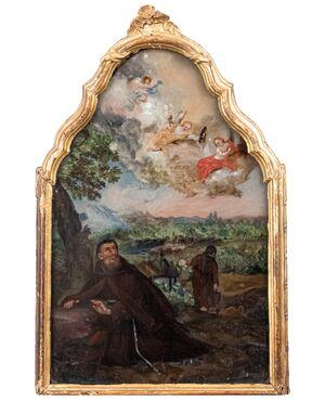 Vetro dipinto ad olio con San Francesco che riceve le stigmate, Seicento