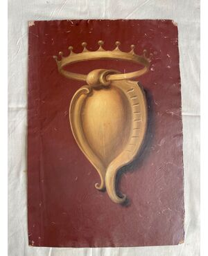 Dipinto olio su cartoncino  raffigurante uno stemma.