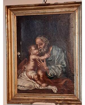 antico dipinto Giuseppe con bambino