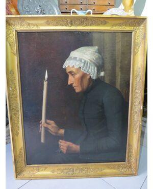 dipinto vecchia con candela