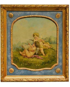 """Set di tre dipinti antichi """"Putti con strumenti musicali e scientifici"""" per la Manifattura di Aubusson - O/1132-1133-1134"""
