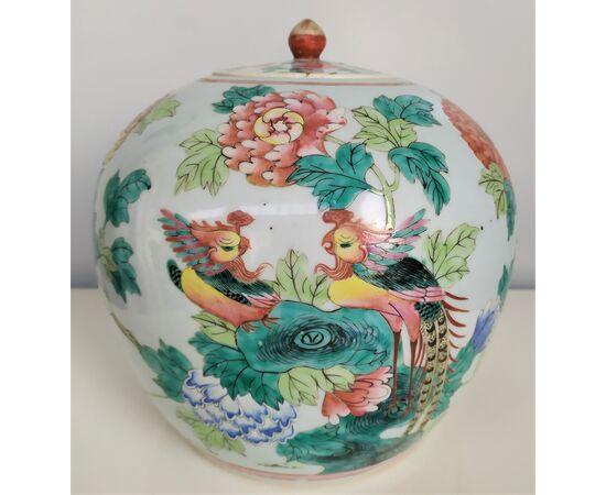 Potiche in porcellana di Cina policroma - h 22 cm - XIX sec.